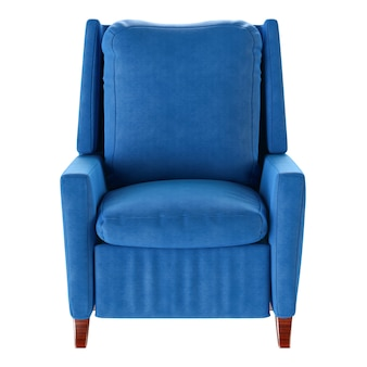 Eenvoudige blauwe geïsoleerde leunstoel. vooraanzicht. 3d-afbeelding