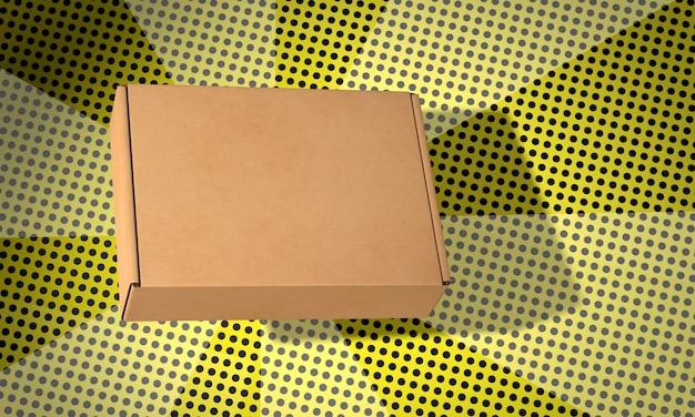 Eenvoudige dunne kartonnen doos op strips achtergrond