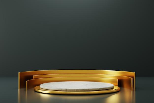 Eenvoudige elegante betonnen podiumvertoning met gouden ornament.