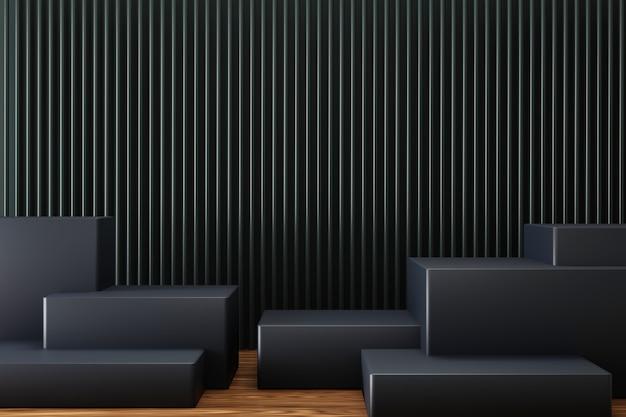 Eenvoudige elegante podiumdisplay met zwarte kleur.