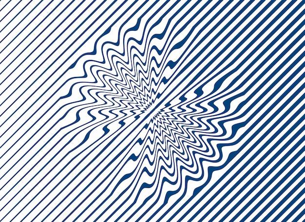 Eenvoudige gebogen lijnstrepen in blauw op een witte achtergrond