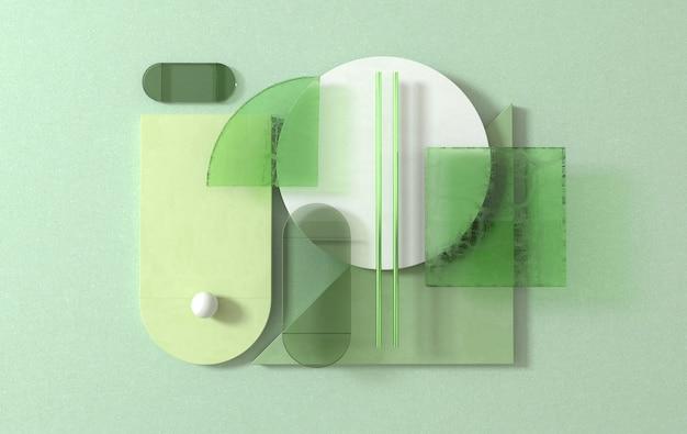 Eenvoudige geometrische vormen, plat leggen scène 3d render abstracte zakelijke achtergrond