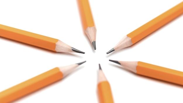 Eenvoudige geslepen potloden gevouwen in een cirkel