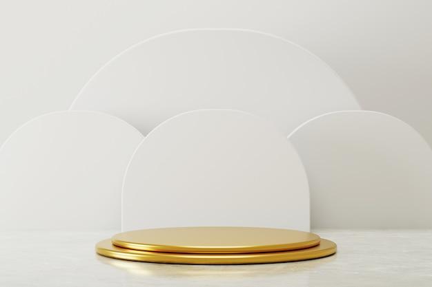 Eenvoudige gouden podiumvertoning met abstract wit