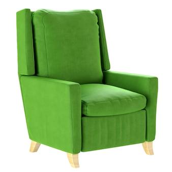 Eenvoudige groene fauteuil in scandinavische stijl met houten poten. zacht meubilair. 3d render illustratie.