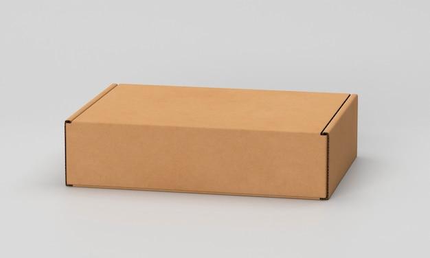 Eenvoudige kartonnen doos op witte achtergrond