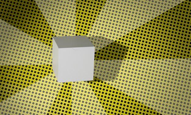 Eenvoudige kartonnen kubusdoos op strips achtergrond