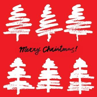 Eenvoudige kerstbomen op rode achtergrond - raster schets