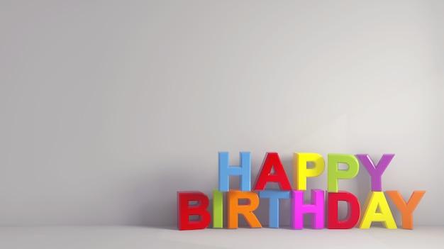 Eenvoudige kleurrijke gelukkige verjaardagstekst bij een grijs behang