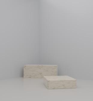 Eenvoudige kubus modern mockup podium met witte achtergrond