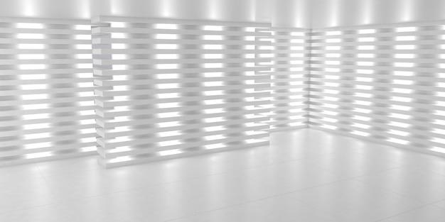 Eenvoudige lege witte interieur podium achtergrond. 3d witte neonlichtruimte. 3d illustratie