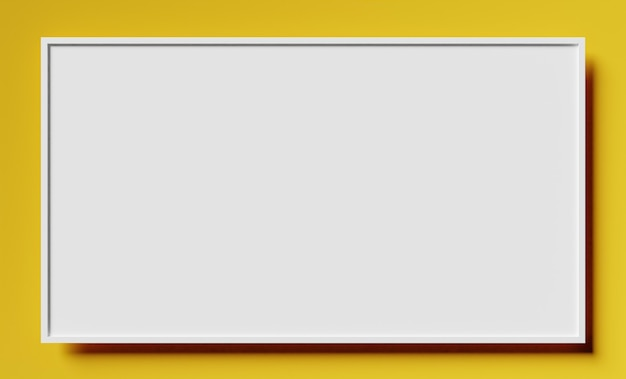 Eenvoudige mockup van wit frame op geel oppervlak met schaduw