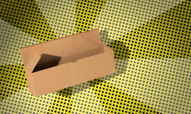 Eenvoudige open kartonnen doos op strips achtergrond
