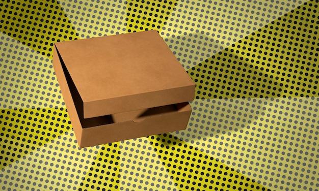 Eenvoudige pizza kartonnen doos op strips achtergrond