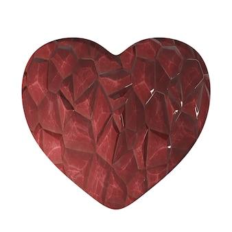 Eenvoudige rode edelsteen stenen hart met kristalstructuur geïsoleerd op een witte achtergrond