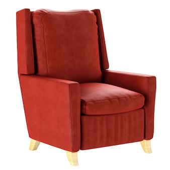 Eenvoudige rode fauteuil in scandinavische stijl met houten poten. zacht meubilair. 3d render illustratie.
