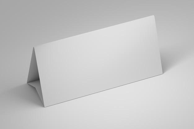 Eenvoudige sjabloon mockup van office tafelpapier staan met lege lege oppervlak op wit