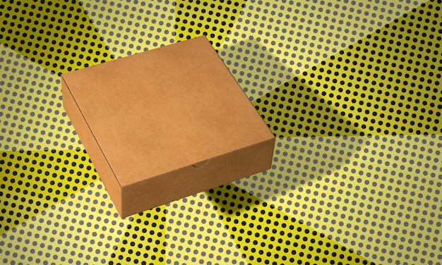 Eenvoudige vierkante kartonnen doos op strips achtergrond