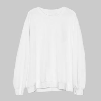 Eenvoudige witte unisex streetwear-kleding met ronde hals