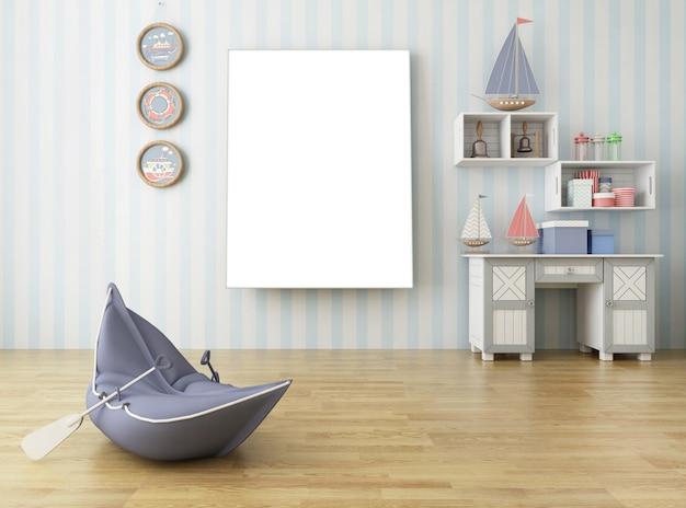 Eenvoudige woonkamer in europese stijl met grote fotolijst