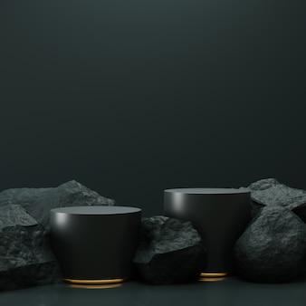 Eenvoudige zwarte cilinderpodiumdisplay met stenen.