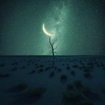 Eenzame droge boom in woestijn op nachtlandschap, sterren en maan hierboven, klimaatverandering. vintage stilering, retro filmfilter