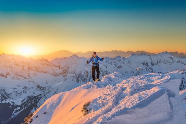 Eenzame klimmer op de top