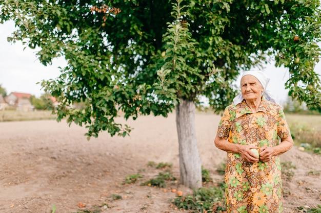 Eenzame oude vrouw met groene appel in handen die zich in tuin voor appelboom bevinden. ongelukkig triest vrouw met gerimpeld huidportret. 90 jaar oude dame