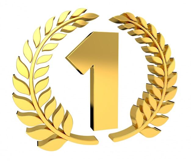 Eerste gouden prijspictogram 3d-rendering
