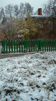 Eerste sneeuw in het dorp