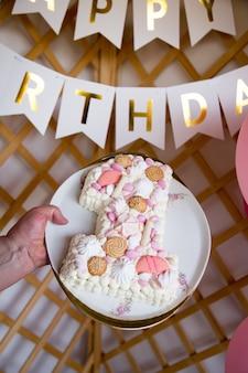 Eerste verjaardag vieren. fotoachtergrond voor het vieren van de eerste verjaardag