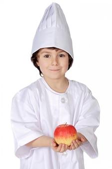 Eet gezond zoals dit kind doet (een witte achtergrond)