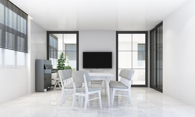 Eetgedeelte in moderne eigentijdse stijl met houten raamkozijn en vitrage met grijze meubeltoon, 3d-rendering