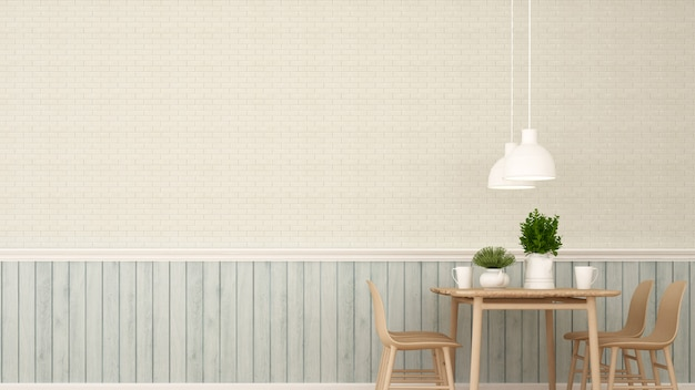 Eethoek in restaurant of koffiebar - 3d-rendering