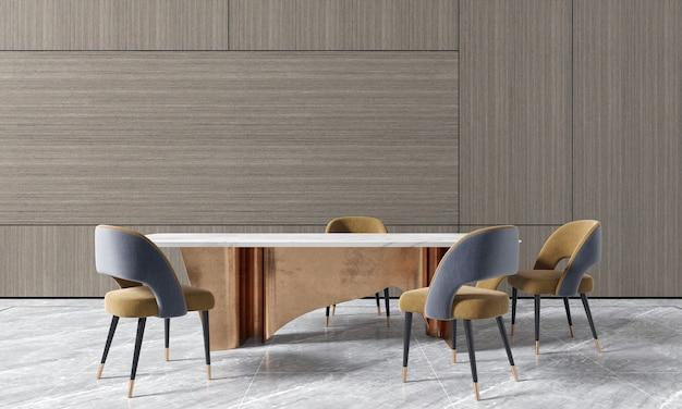 Eetkamer met houten muur heeft een tafel en chais en decoratie, mock-up interieur, 3d-rendering