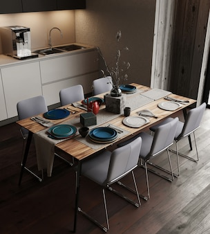 Eetkamer met tafel en stoelen, gratis