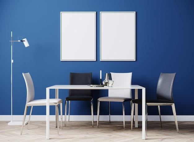Eetkamer modern interieur met luxe witte en zwarte stoelen en tafel