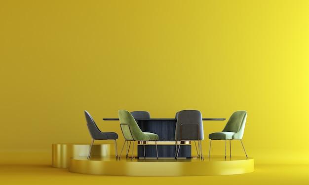 Eetkamermeubilair op podium cosmetische displaystandaard met gele muur achtergrond 3d-rendering