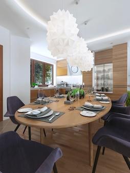 Eetkeuken design in een moderne stijl met een eettafel en keukenmeubelen en meubels in heldere kleur.