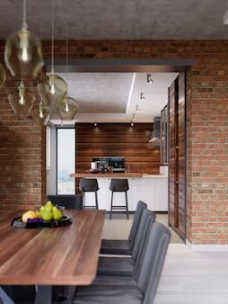 Eettafel met decor, zwarte fruitschaal. eetkamer in moderne stijl in loft-design. 3d-rendering.