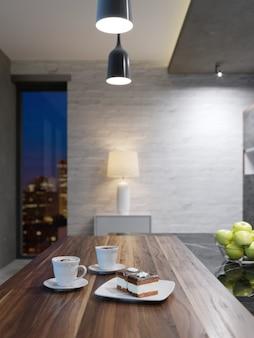 Eettafel met houten blad, twee kopjes koffie en cake. 3d-rendering.