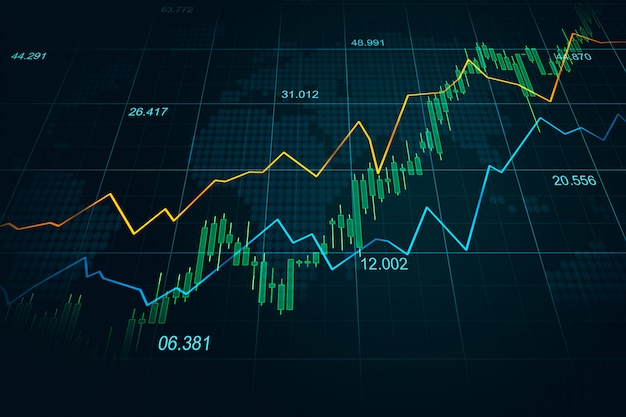 Effectenbeurs of forex handelgrafiek in grafisch concept