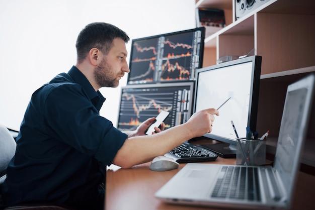 Effectenmakelaar in shirt werkt in een meldkamer met schermen. beurs handel forex grafische financiën. zakenlieden die aandelen online verhandelen