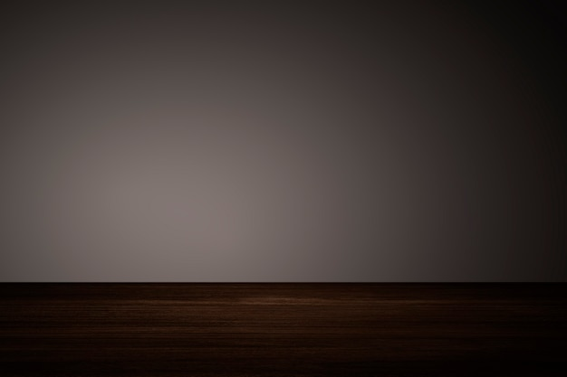 Effen donkerbruine muur met houten vloerproductachtergrond