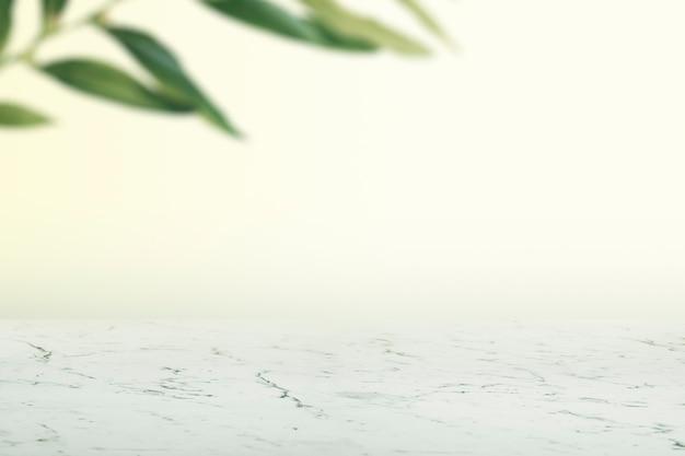 Effen muur met bladeren en witte marmeren vloerproductachtergrond