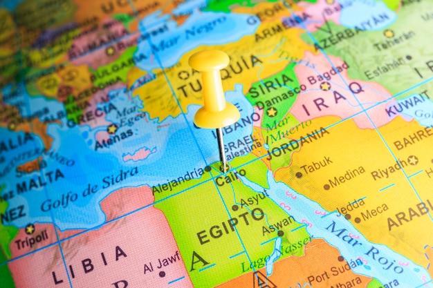 Egypte gevestigd op een kaart van afrika