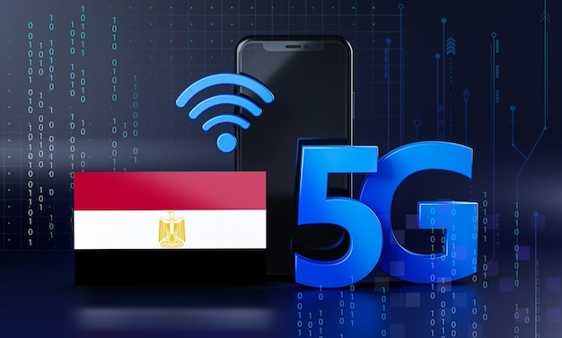 Egypte klaar voor 5g-verbindingsconcept. 3d-rendering smartphone technische achtergrond