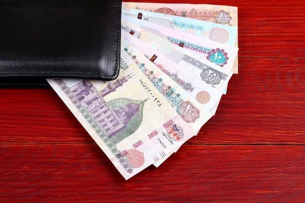 Egyptisch geld in de zwarte portefeuille