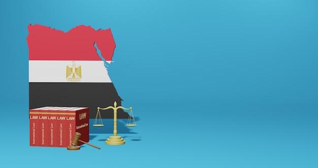 Egyptische wet voor infographics, sociale media-inhoud in 3d-weergave