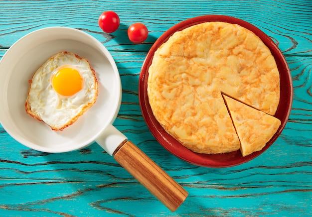 Ei over eenvoudig op witte pan en aardappelomelet